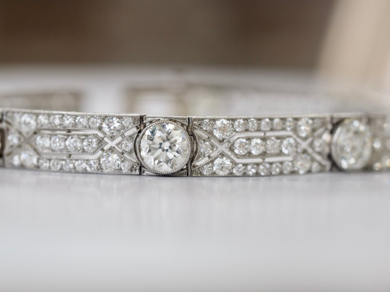 Women's or Men's Vintage Tiffany & Co. Diamond Platinum Deco Bracelet, circa 1915 For Sale
