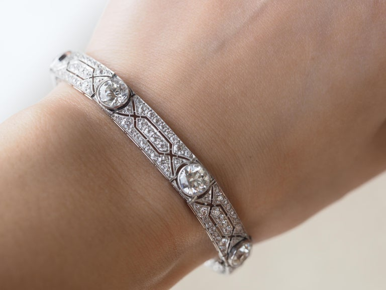 Vintage Tiffany & Co. Diamond Platinum Deco Bracelet, circa 1915 For Sale 2