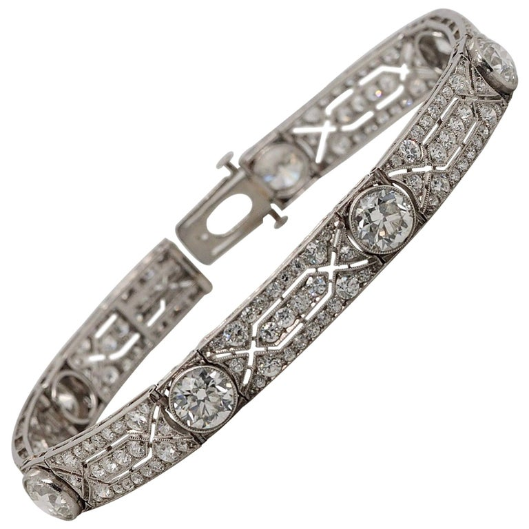 Vintage Tiffany & Co. Diamond Platinum Deco Bracelet, circa 1915 For Sale