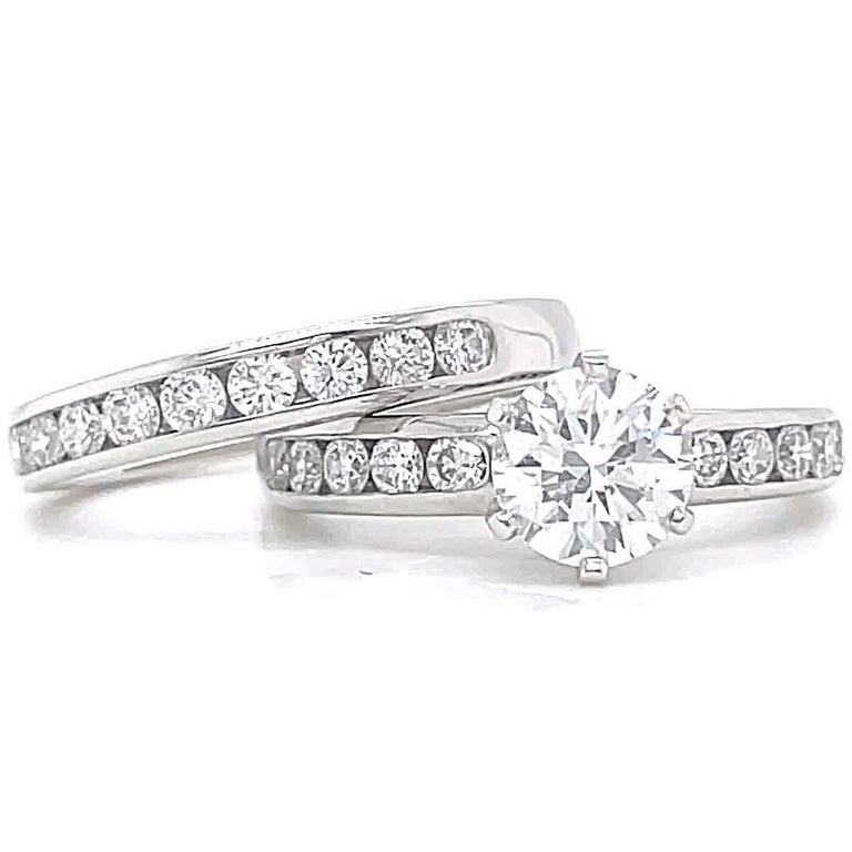 Round Cut Vintage Tiffany & Co. Diamond Platinum Engagement Ring Set For Sale