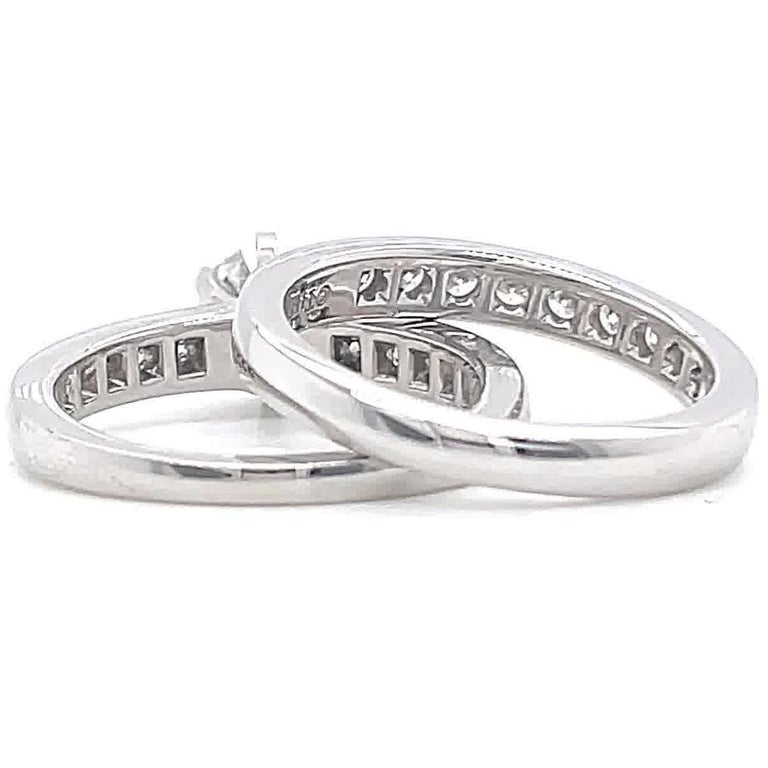 Women's Vintage Tiffany & Co. Diamond Platinum Engagement Ring Set For Sale