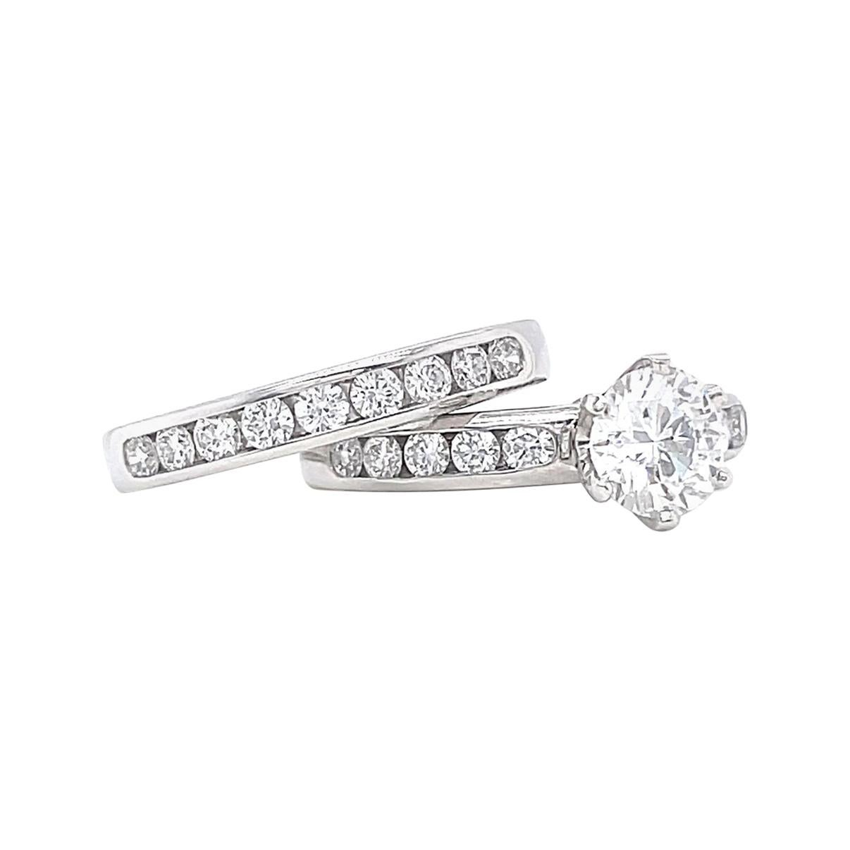 Vintage Tiffany & Co. Diamond Platinum Engagement Ring Set