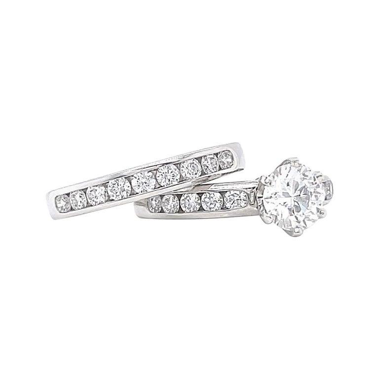 Vintage Tiffany & Co. Diamond Platinum Engagement Ring Set For Sale