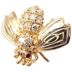 Vintage Tiffany & Co Diamond Ruby Bee Yellow Gold Brooch Pin