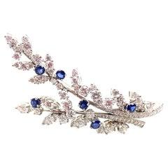 Vintage Tiffany & Co. Diamond Sapphire Flower Platinum Pin Brooch