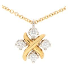 Vintage Tiffany & Co. Diamond Schlumberger Lynn Pendant Set in Gold and Platinum