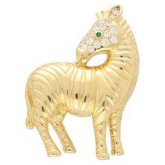 Vintage Tiffany & Co. Diamond Zebra Brooch Set in 18k Yellow Gold