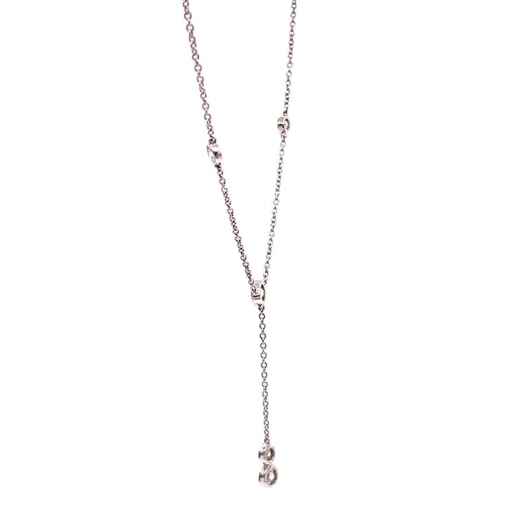 Vintage Tiffany & Co. Diamonds by the Yard Platinum Drop Pendant Necklace In Excellent Condition For Sale In Beverly Hills, CA