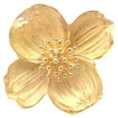Vintage Tiffany & Co Dogwood Flower Yellow Gold Pin Brooch
