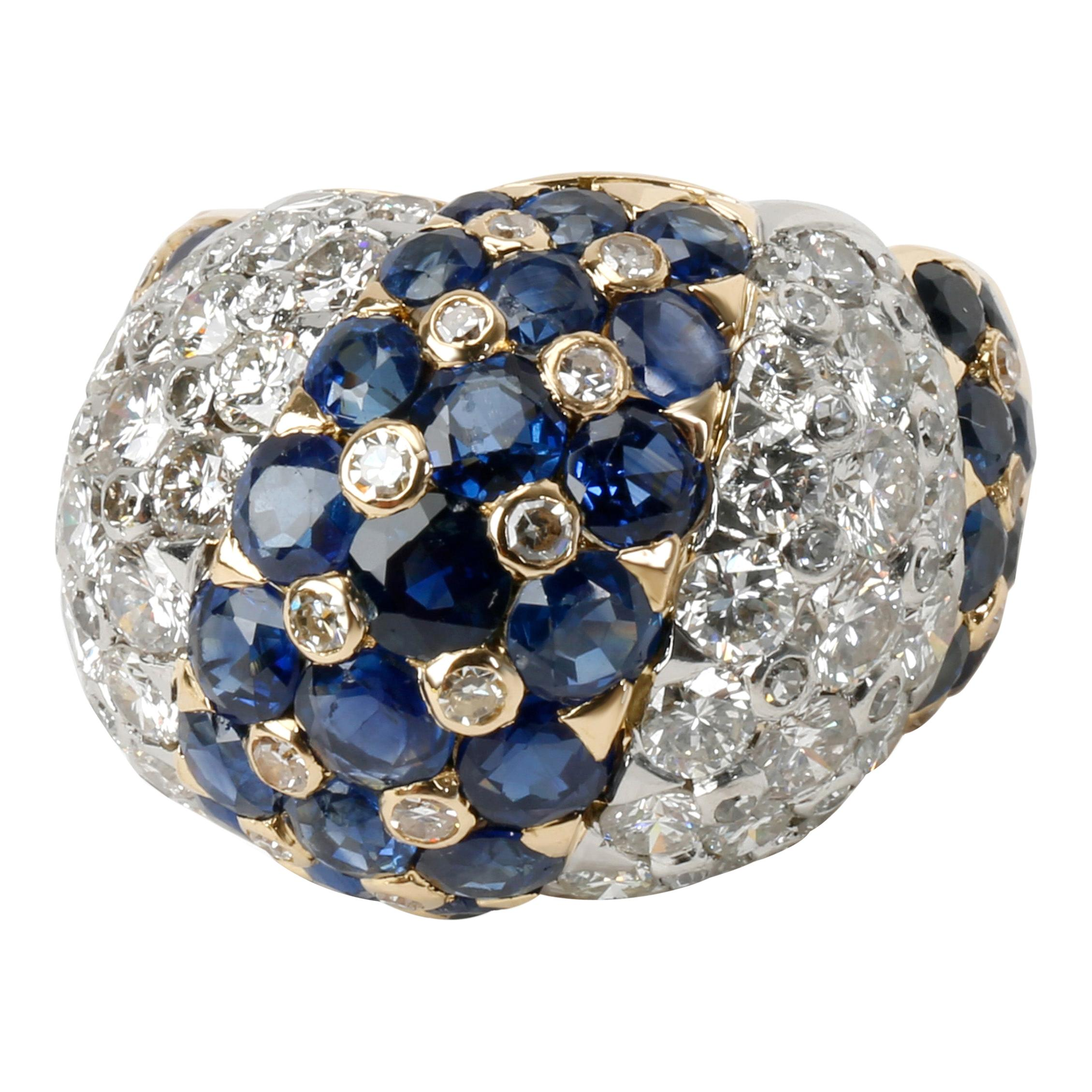 Vintage Tiffany & Co. Domed Diamond & Sapphire Ring in 18K Yellow Gold 2.5 Carat
