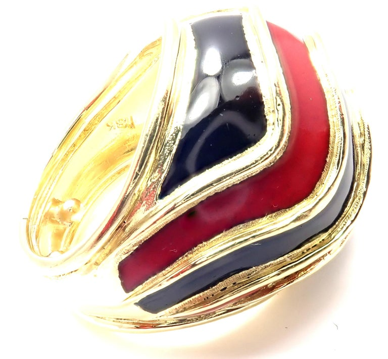 Vintage 18k Yellow Gold Enamel Dome Ring by Tiffany & Co.  Details:  Size: 4 Width: 20mm Weight: 17.3 grams Stamped Hallmarks: TIFFANY 18k *Free Shipping within the United States* YOUR PRICE: $2,700 T2459modd