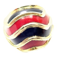 Vintage Tiffany & Co. Enamel Dome Yellow Gold Ring