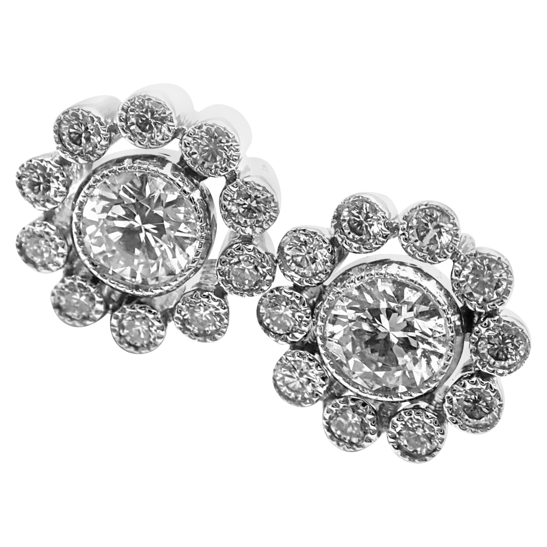 Vintage Tiffany & Co. Flower Diamond Platinum Stud Earrings