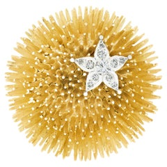 Vintage Tiffany & Co. French 18k Gold Diamond Starfish on Sea Urchin Pin Brooch