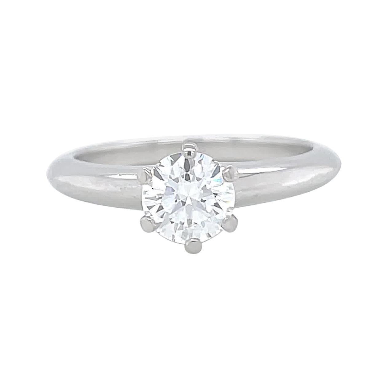 Vintage Tiffany & Co. GIA Round Cut Diamond Platinum Solitaire Engagement Ring