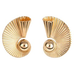 Vintage Tiffany & Co. Gold Fan Earrings
