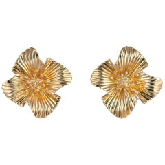 Vintage Tiffany & Co. Gold Floral Motif Earrings