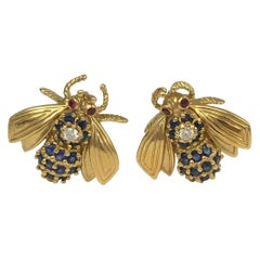 Vintage Tiffany & Co. Gold Gem Set Bumblebee Earrings