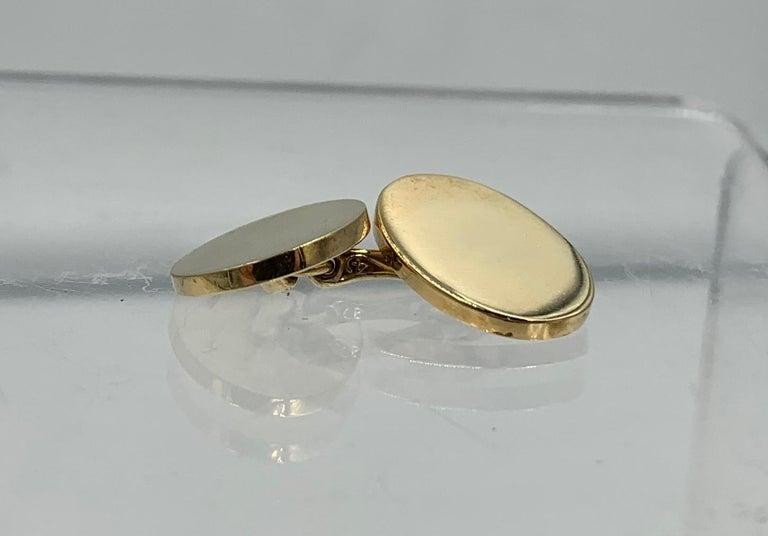Vintage Tiffany & Co. Heavy 14 Karat Gold Cufflinks Art Deco Wedding Cuff Links For Sale 2