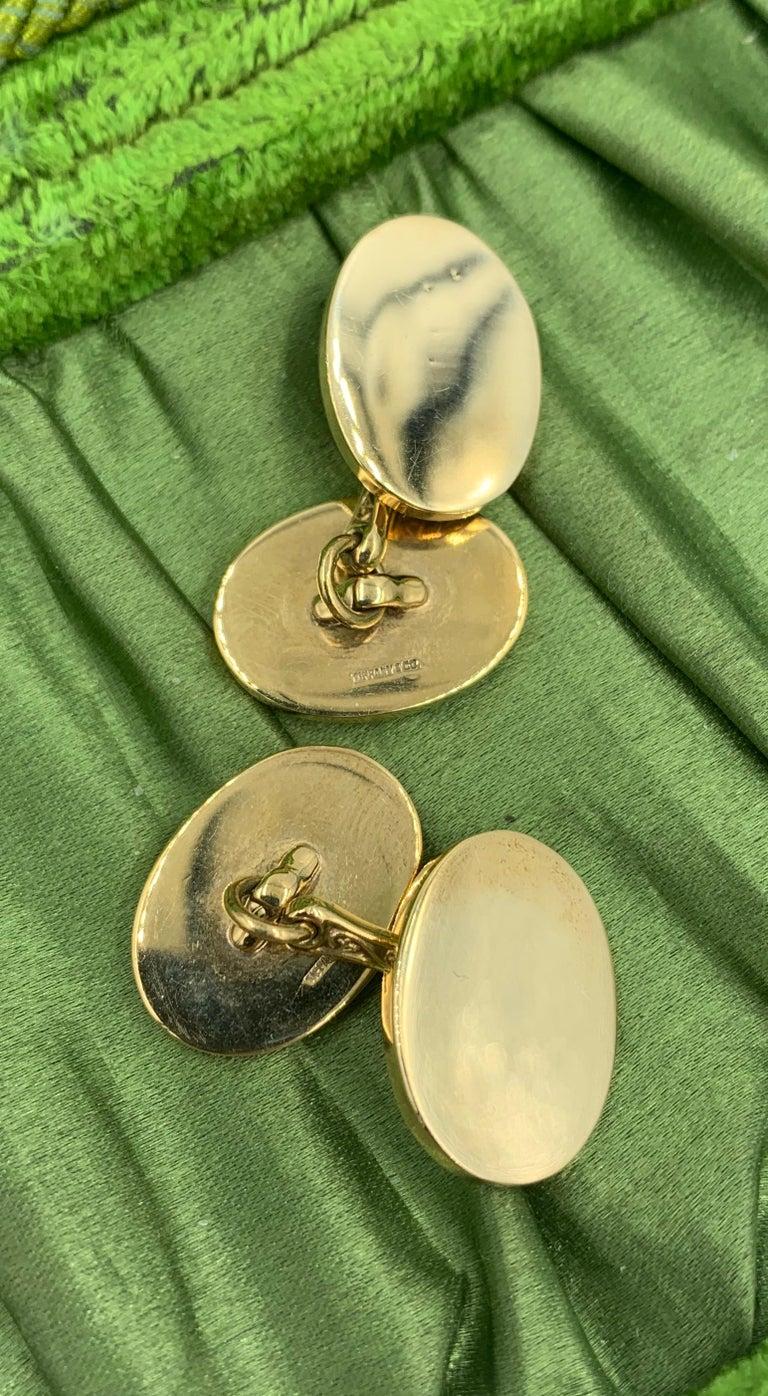 Vintage Tiffany & Co. Heavy 14 Karat Gold Cufflinks Art Deco Wedding Cuff Links For Sale 5