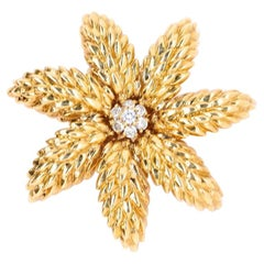 Vintage Tiffany & Co. Italy Diamond 18 Karat Gold Brooch