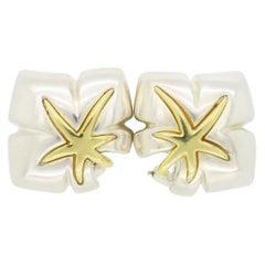 Vintage Tiffany & Co Ivy Sterling and 18 Karat Gold Omega Back Earrings