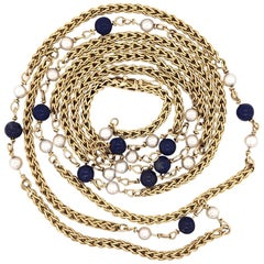 Vintage Tiffany & Co. Lapis & Pearl Long Gold Chain Necklace Estate Fine Jewelry
