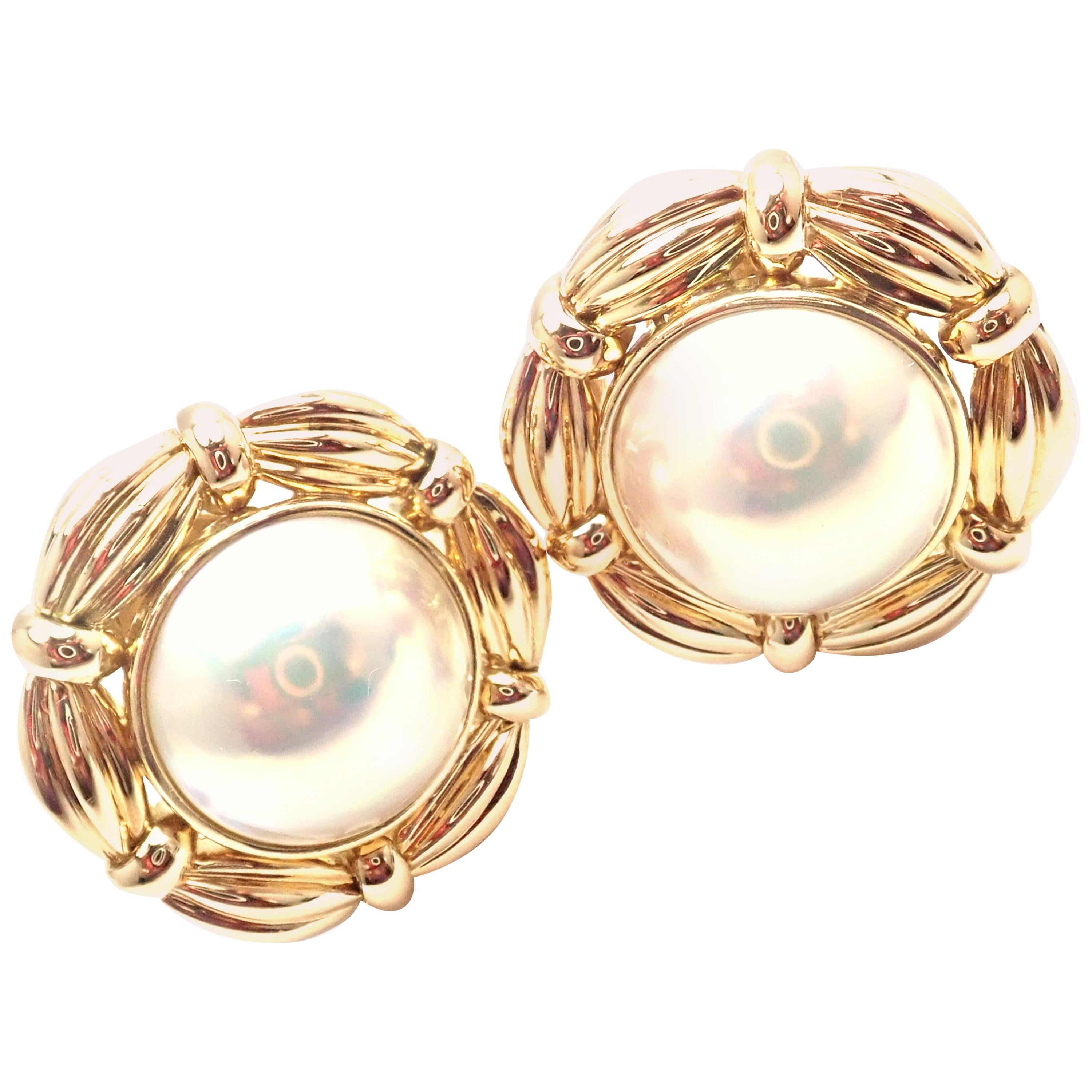 Vintage Tiffany & Co Mabe Pearl Large Yellow Gold Earrings