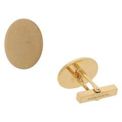 Vintage Tiffany & Co. Oval Satin Finish Cufflinks in 14k Yellow Gold, circa 1960
