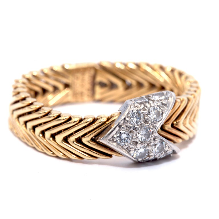 Vintage Tiffany & Co. Paloma Picasso 18 Karat Diamond Ring For Sale 2