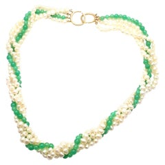 Vintage Tiffany & Co. Picasso Torsade Pearl Chrysoprase Yellow Gold Necklace