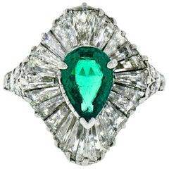 Vintage Tiffany & Co. Platinum AGL Pear Emerald Baguette Diamond Ballerina Ring