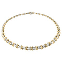Vintage Tiffany & Co. Platinum Diamond 18 Karat Gold X Link Collier Necklace