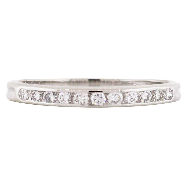 Vintage Tiffany And Co Platinum Round Brilliant Cut Diamond Thin