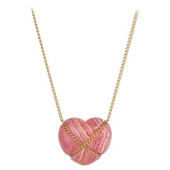 Vintage Tiffany & Co. Rhodochrosite Cross My Heart Necklace 18 Karat Yellow Gold