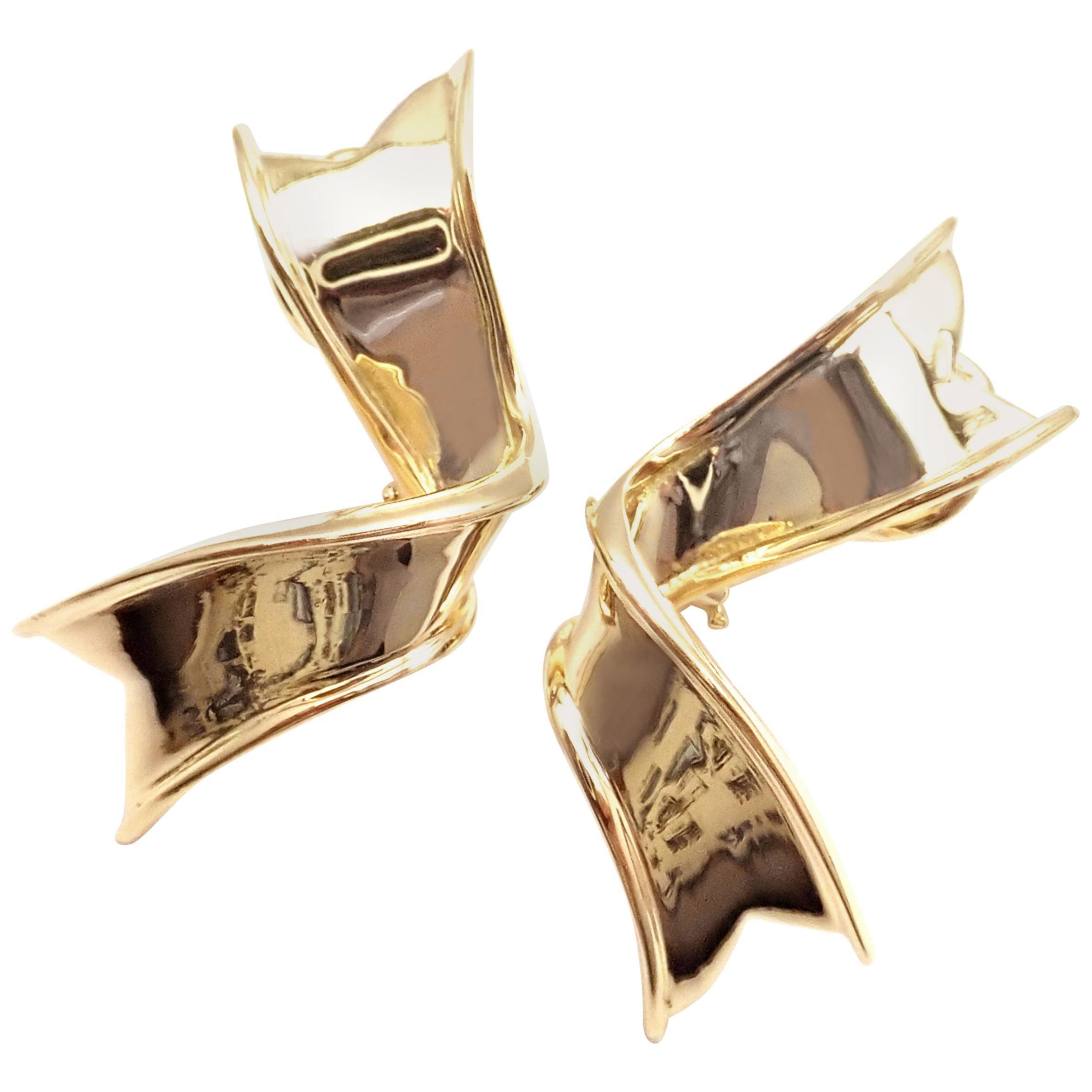 Vintage Tiffany & Co. Ribbon Yellow Gold Earrings