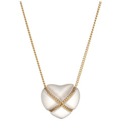 Vintage Tiffany & Co. Rock Crystal Cross My Heart Necklace 18 Karat Gold Quartz