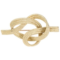 Vintage Tiffany & Co. Rope Knot Brooch in 18 Karat Yellow Gold