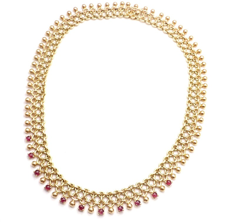 Cabochon Vintage Tiffany & Co. Ruby Collar Yellow Gold Necklace For Sale