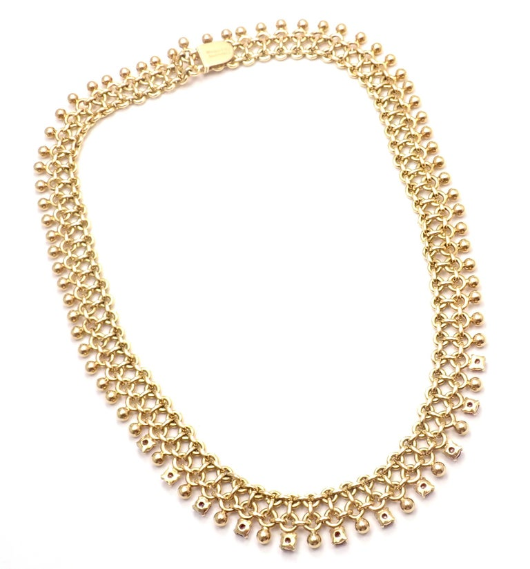 Vintage Tiffany & Co. Ruby Collar Yellow Gold Necklace In Excellent Condition For Sale In Holland, PA