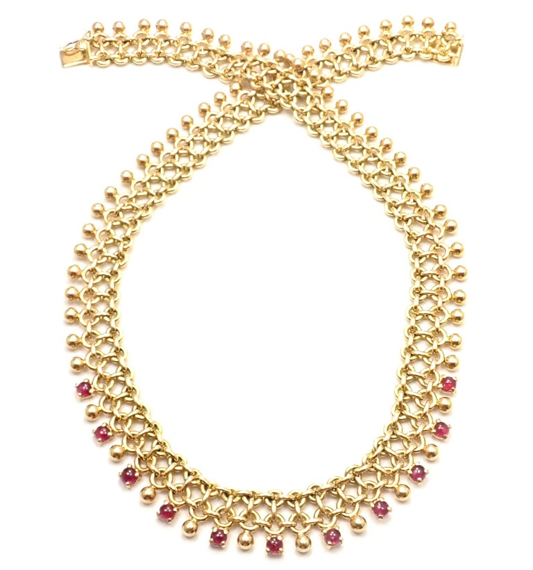 Vintage Tiffany & Co. Ruby Collar Yellow Gold Necklace For Sale 1