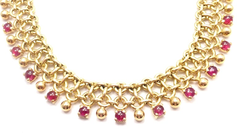 Vintage Tiffany & Co. Ruby Collar Yellow Gold Necklace For Sale 2