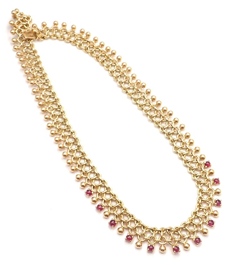 Vintage Tiffany & Co. Ruby Collar Yellow Gold Necklace For Sale 3