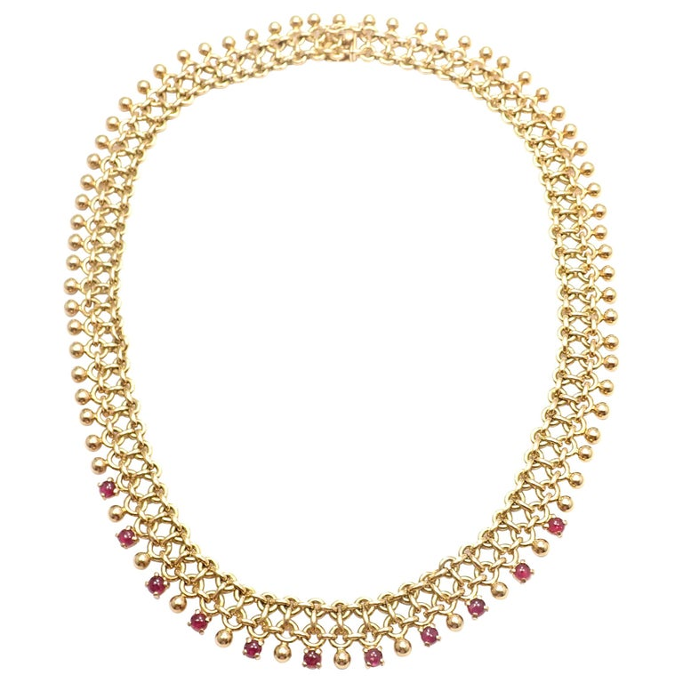 Vintage Tiffany & Co. Ruby Collar Yellow Gold Necklace For Sale