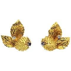 Vintage Tiffany & Co. Sapphire and Diamond Leaf Botanical Earrings 18 Karat Gold
