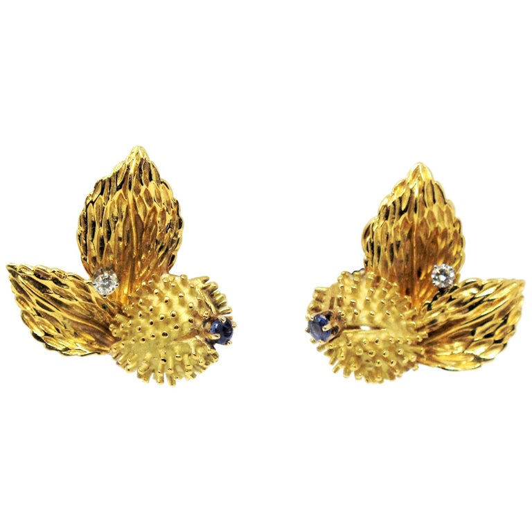 Vintage Tiffany & Co. Sapphire and Diamond Leaf Botanical Earrings 18 Karat Gold For Sale
