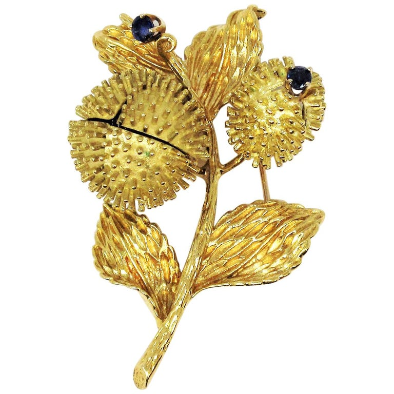 Vintage Tiffany & Co. Sapphire and Diamond Open Flower Brooch 18 Karat Gold For Sale