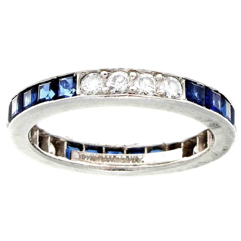 Art Deco Vintage Tiffany & Co. Sapphire Diamond Platinum Eternity Ring For Sale
