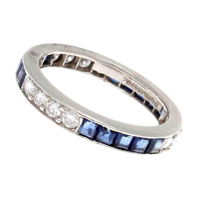 Vintage Tiffany & Co. Sapphire Diamond Platinum Eternity Ring For Sale