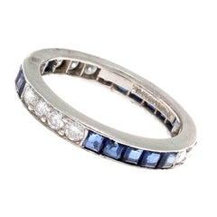 Vintage Tiffany & Co. Sapphire Diamond Platinum Eternity Ring